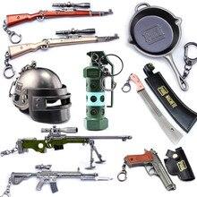 Hot PUBG PC Game Playerunknown's Battlegrounds Zinc Alloy Gun Model Chicken Dinner Keychain Pan Pendant Action Figures Toys
