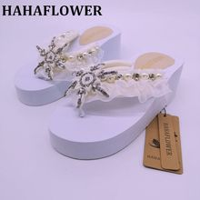HAHAFLOWER  Wedding Slippers,wedding Bride&Bridesmaid name Slippers, Flower Girl Slippers big size 35-44