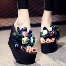 11cm High Heels Platform Women Flower Shoes Outside Beach Shoes Open Toe Summer Women Flip F 11cm high heels platform women flower shoes outside beach shoes open toe summer women flip f