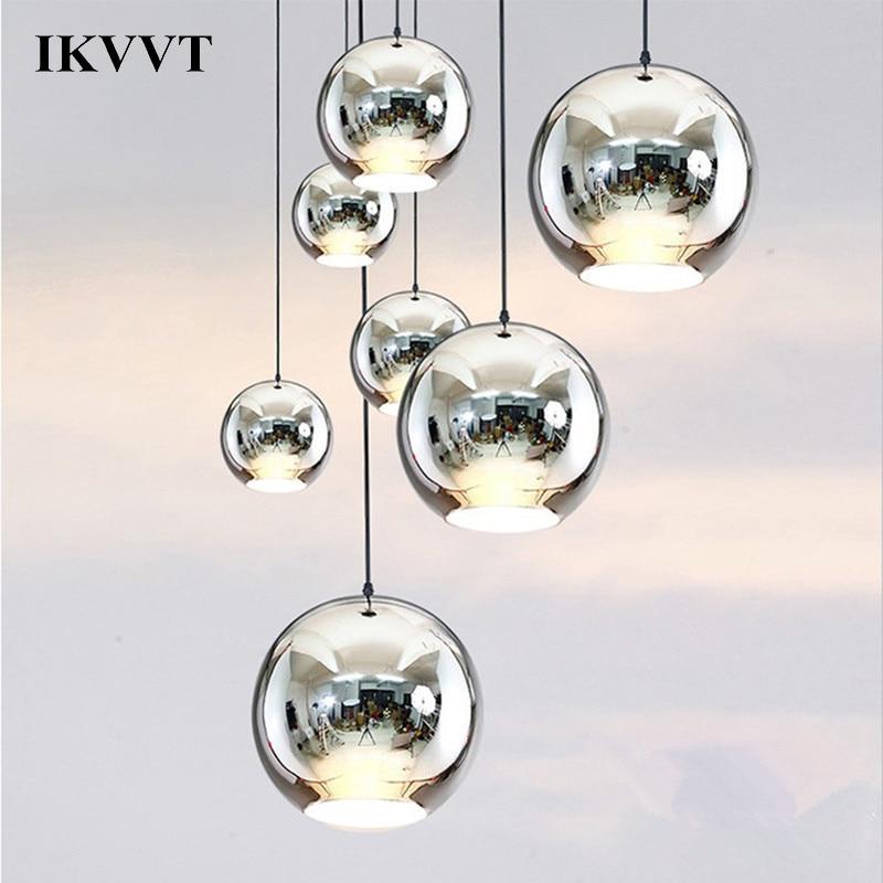IKVVT Modern Chrome Mirror Ball Chanderlier Glass Pendant Lights Home Restaurant Living Room Lamp 20cm/25cm/30cm/40cm/45cm/50cm