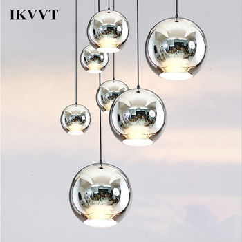 IKVVT Modern Chrome Mirror Ball Chanderlier Glass Pendant Lights Home Restaurant Living Room Lamp 20cm/25cm/30cm/40cm/45cm/50cm