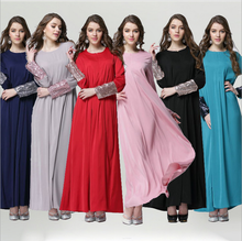 2016 New Muslim Womens Abaya Kaftan Islamic Clothes Sequins Decoration O Neck Full Sleeve Floor Length