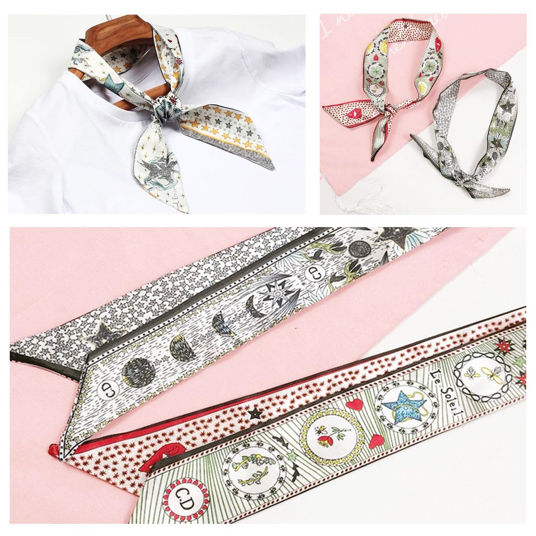 New Tarot Element Constellation Print Women Silk Riband Handle Bags   Scarf   Small Ribbon Hair Band Headband   Scarves   &   Wraps