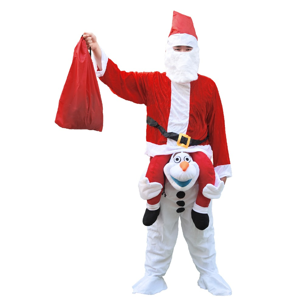 Christmas Adult Men Women Santa Claus costume Olaf Mascot Costume for Halloween Party Costume Fancy Dress for Purim Carnival