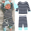 3PCS Baby Boy Girl Clothing Set Autunm Newborn Cotton Outfit Fashion Infant Hat + Long Sleeve T-shirt + Striped Pants Clothes