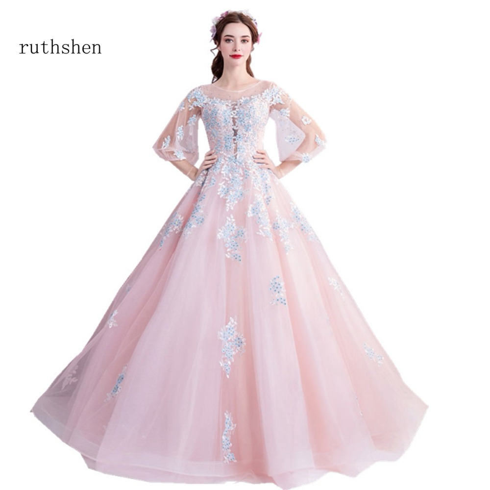 24ba6d5a2e ruthshen Long Pink Prom Dresses 2018 Scoop Neck Beaded Appliques Sexy  Illusion Formal A Line Party ...
