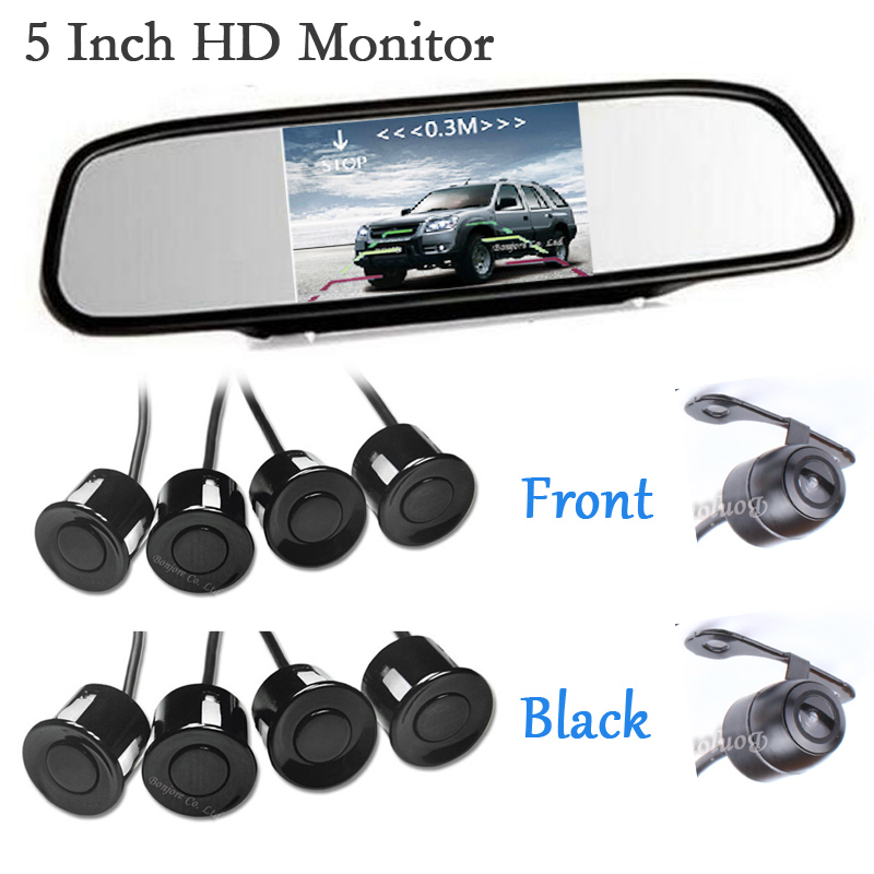 New 5 Car Mirror Monitor Radar Parking System BIBI Alarm 8 Sensors with Front View Camera