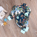 Baby Kids Fancy Floral Printed Rompers Long Sleeve Spring Clothes Outfits 1pc Cute Newborn Baby Boy Girl  Harem Romper Jumpsuit
