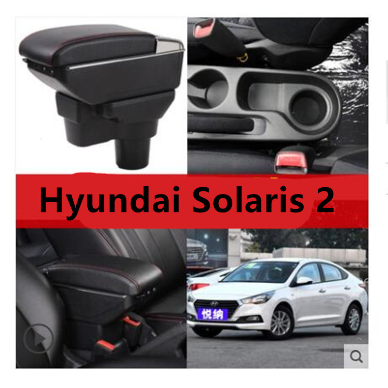 7USB + Lift + Rutsche + LED zentralen Speicher armlehne box inhalt box mit tasse halter aschenbecher Für 2017 Neue hyundai Solaris 2 accent