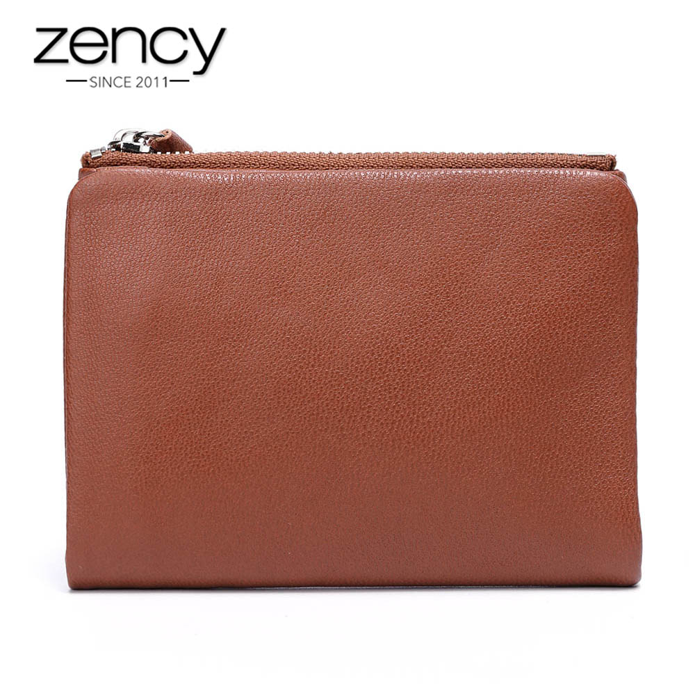 Zency 6 Colors Real Soft Skin 100% Genuine Leather Women Wallets Fashion Female Short Purse Mutil Card Holders Coin Pocket Bag simline fashion genuine leather real cowhide women lady short slim wallet wallets purse card holder zipper coin pocket ladies