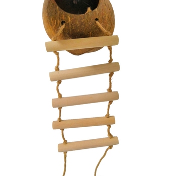 Bird Supplies Parrot Coconut Shell Bird Nest House Hut Cage Feeder Pet Parrot Bird Hamster Squirrel Breeding Nest Ladder Lanyard 3