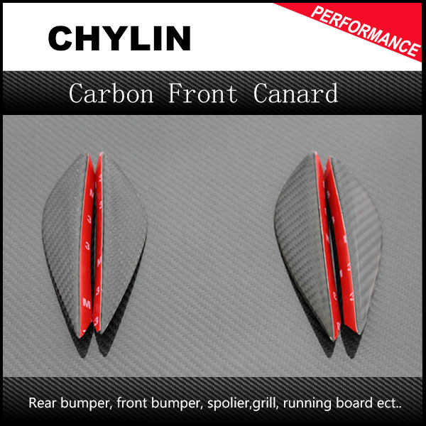 4Pcs Car-styling Real Carbon Fiber Universal Fitment <font><b>Front</b></font> <font><b>Bumper</b></font> Canard (Small) For Volkswagen Scirocco <font><b>Golf</b></font> 6 <font><b>7</b></font> <font><b>GTI</b></font> R20 image