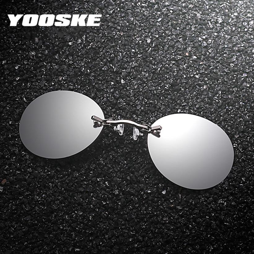 Yooske клип на носу Солнцезащитные очки для женщин Для мужчин Винтаж хакер империи Matrix morpheus без оправы Защита от солнца Очки круглый Очки UV400