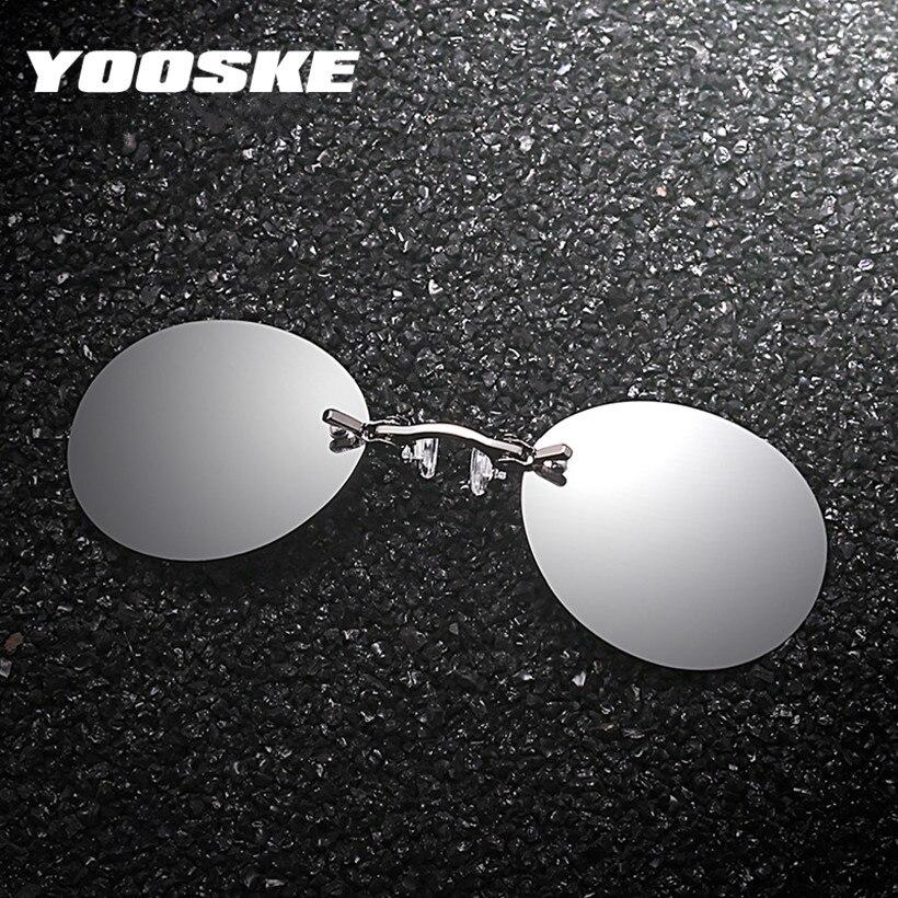 b5f686a880fa YOOSKE Clip On Nose Sunglasses Men Vintage Hacker Empire Matrix Morpheus  Rimless Sun Glasses Round Glasses UV400