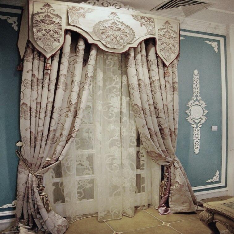 luxury classical tman fashion brief modern best quality bedroom curtain cream curtains europe curtain european flower