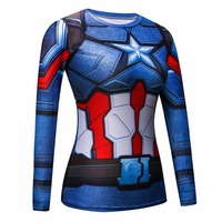 New Women Outdoor Sports Compression Fitness T Shirt Women Super Hero 3D Print Long Sleeve Slim