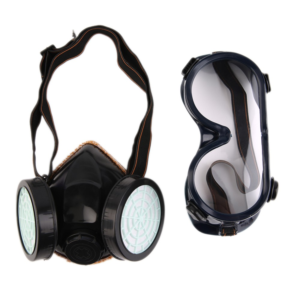NEW Protection Filter Dual Gas Mask Chemical Gas Anti Dust Paint Respirator Face Mask with Goggles Workplace Safety new safurance protection filter dual gas mask chemical gas anti dust paint respirator face mask with goggles workplace safety