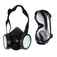 NEW Schutz Filter Dual Gasmaske Chemische Gas Antistaubfarbe Atemschutzmaske mit Brille Arbeitssicherheit