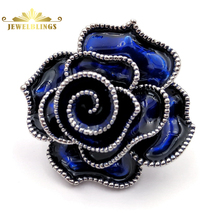 Stunning Vintage Multi Layers Petal Blossom Royal Blue Rose Brooches Silver Tone Beaded Enamel Flower Pins Wedding Jewelry