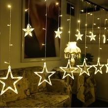 110/220V EU/US LED Christmas Star Garland Curtain Lights Indoor/Outdoor Wedding String Fairy For Holiday Decor