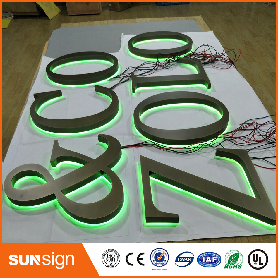 Waterproof LED Brushed Acrylic Material Led Backlit Letter Sign