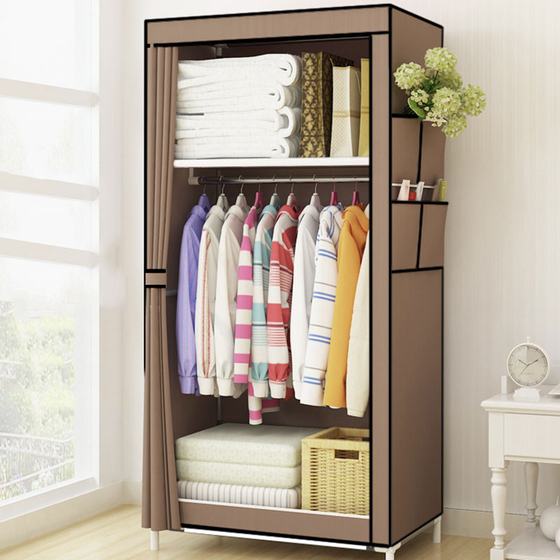 students dormitory small wardrobe single cloth wardrobe folding portable closet clothing storage cabinet home furniture - Small Wardrobe