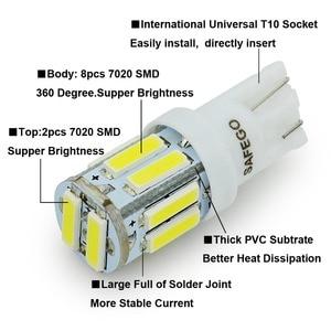 Image 4 - Safego 4x T10 W5W LED 電球 10 7020 SMD 194 168 2825 T10 ウェッジ交換ライト T10 白信号トランクダッシュボード駐車ランプ
