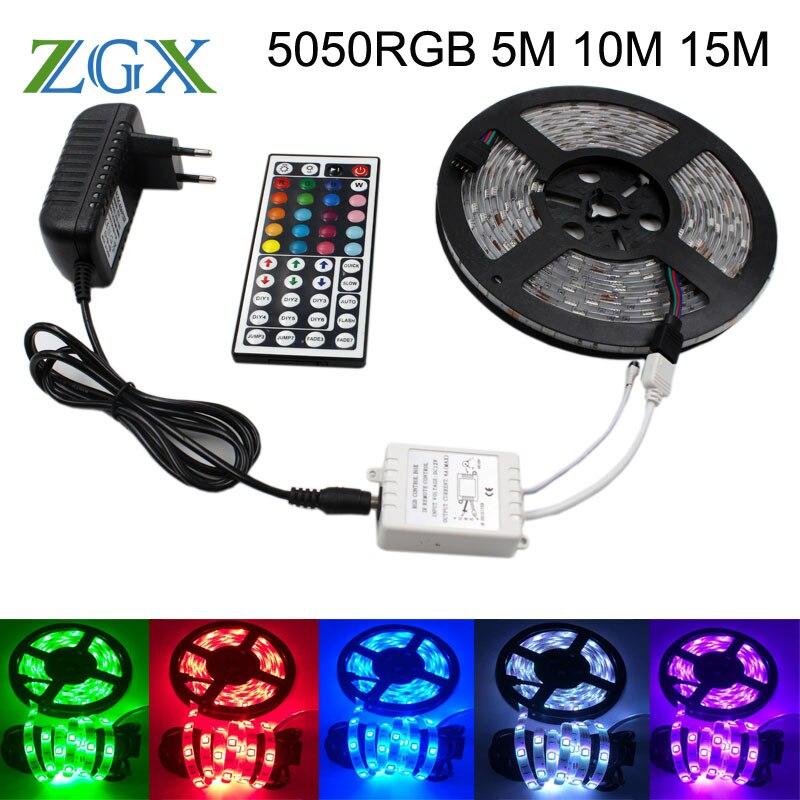 SMD RGB LED Strip light 5050 5M 10M 15M 30led/M Flexible Waterproof Decor tira lamp ribbon tape 44K controller DC12V adapter set
