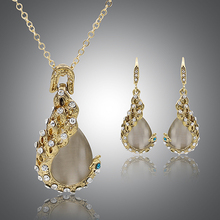 2015 Hot Sale Women's Rhinestone Opal Waterdrop Pendant Necklace Earrings Wedding Jewelry Set