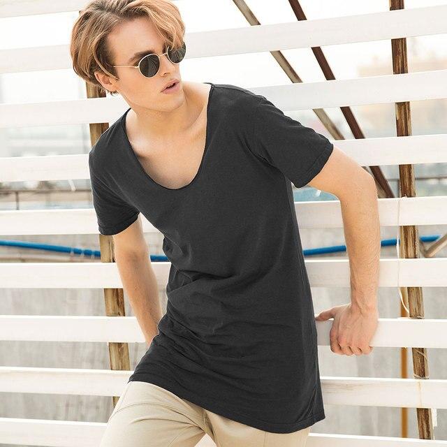 2c72a71b Longline Men T-Shirts V Neck T Shirts For Men Long Line Top Tees Short Sleeve  Hip Hop Fashion Male