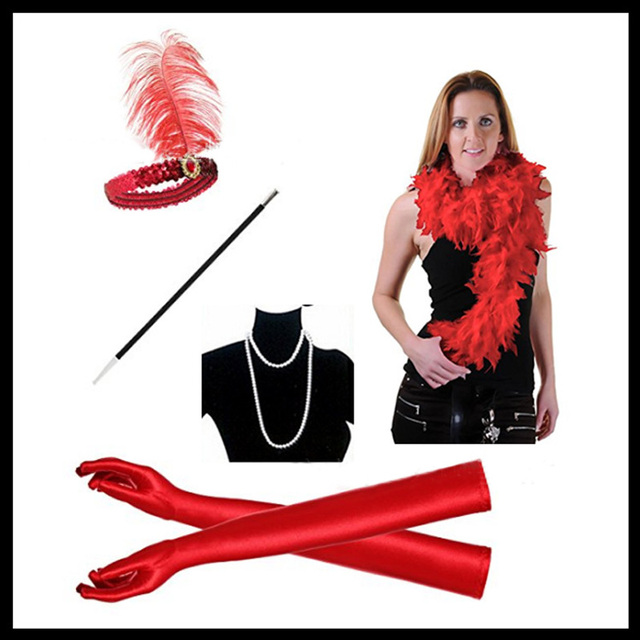 US $8 36 30% OFF|Girl Dress Up Accessories Fancy Ball 1920s Flapper Girl  Dress Sequin Feather Cigarette Holder Costume Accessories Set 5 Pcs Set-in