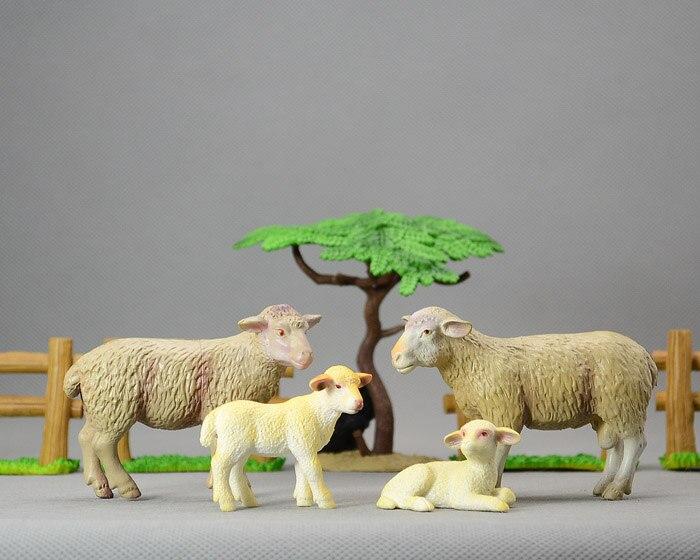 Solid pvc  figure    model   Lamb sheep lamb farm animal models fence Baobab tree  7pcs/set