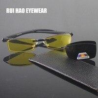Mode Halb Brillen Rahmen Männer Marke Brillen Rahmen 2PCS Mode Polarisierte Sonnenbrille Clip auf Gelb Nachtsicht Gläser