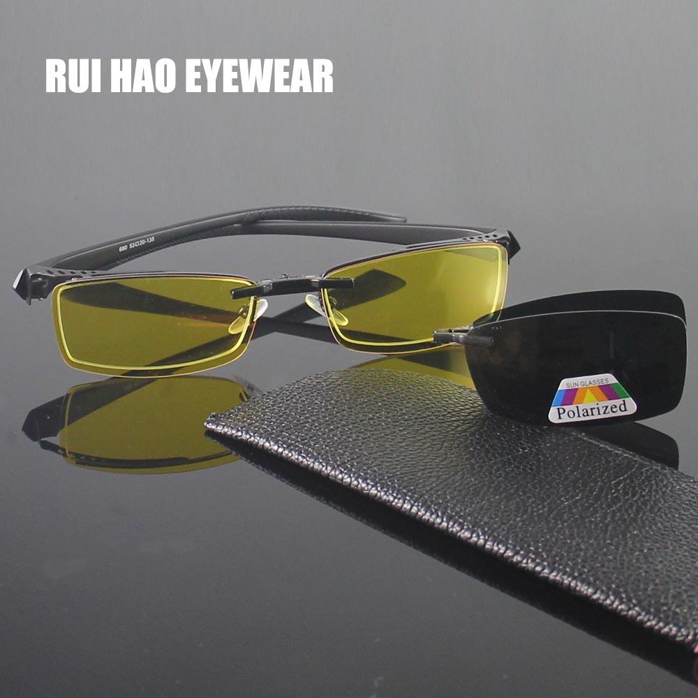 b3242c92de Half Rimless Eyeglasses Frame Men Eyewear Frame 2PCS Magnetic Polarized Sunglasses  Clip on Goggles Yellow Night Vision Glasses