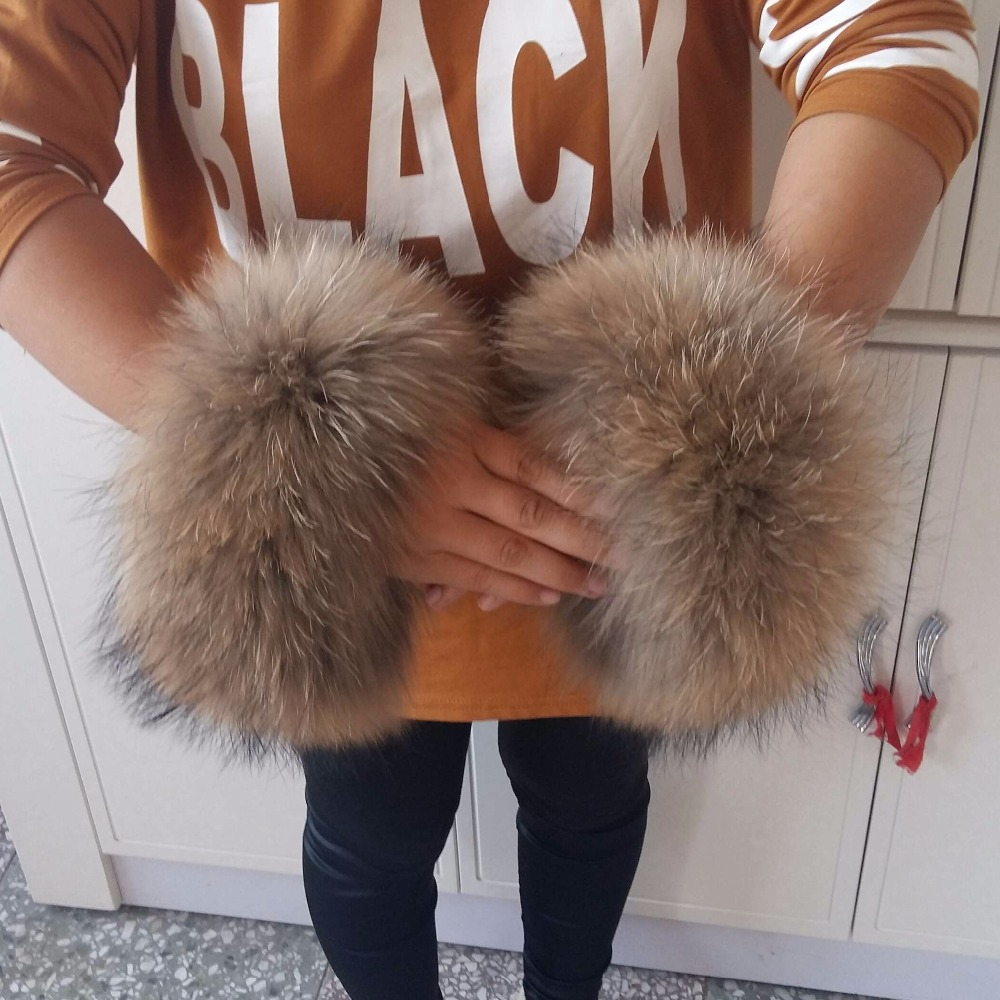 Fox Fur Cuffs  Genuine Fox Fur Cuff Arm Warmer Lady Bracelet Real Fur Wristband Glove Raccoon Fur Cuffs PYCCKNN MEX