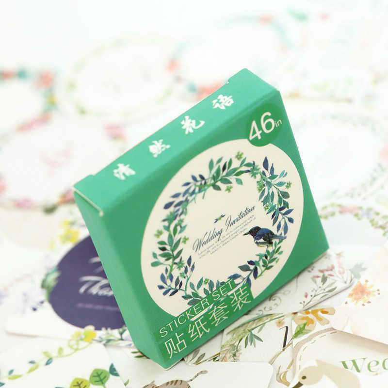 45 unids/set Linda planta verde pegatinas planificador Scrapbooking Diy decoración diario álbum Stick etiqueta diario pegatina