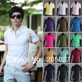 sale 2013  men's clothing men short-sleeve shirts 17 colors 5 pieces a lot  plus size XXXL no.ad3
