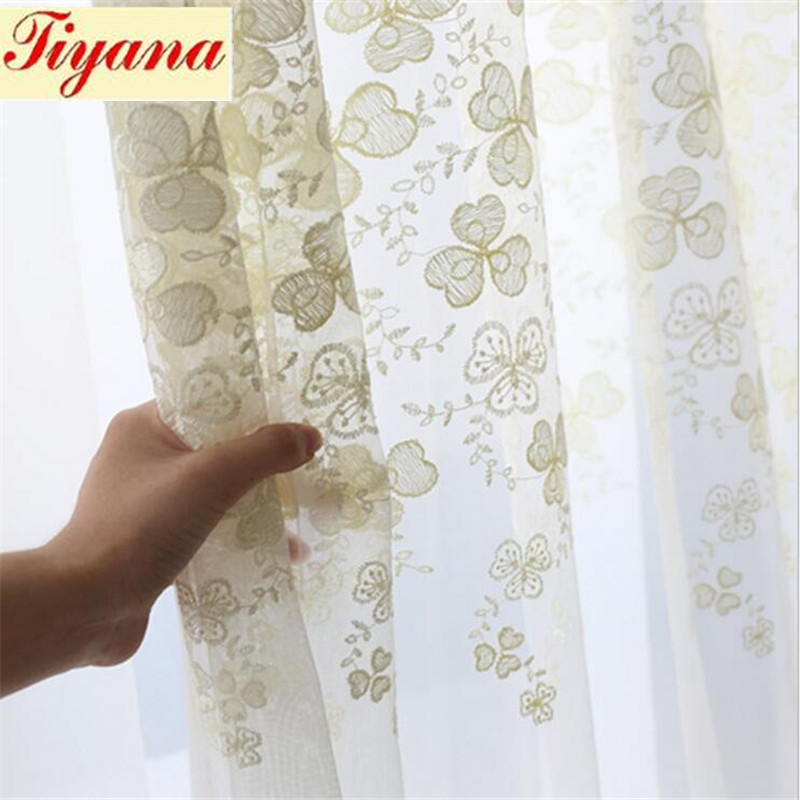 Tulle Curtains Embroidered Kitchen Decoration Window Treatments American Living Room Divider Sheer Voile curtain Panel Su368 *20