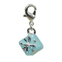 DOYUBO Lovely Zinc Alloy Blue Gift Box Shape DIY Charms For Women Matching Links Bracelets Blue Emamel Zinc Alloy Charms C027