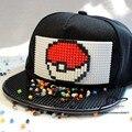 Pokemon Ir Valor Místico Instinto Entrenador Figura Cosplay Mosaicos de Ladrillo DIY juguete bloques de Hip Hop Del Sombrero Del Snapback Gorra de Béisbol Negro
