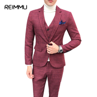 Reimmu 2018 New Arrival Famous Brand Dress Suits For Men Oversized 5XL Mens Suits With Pants
