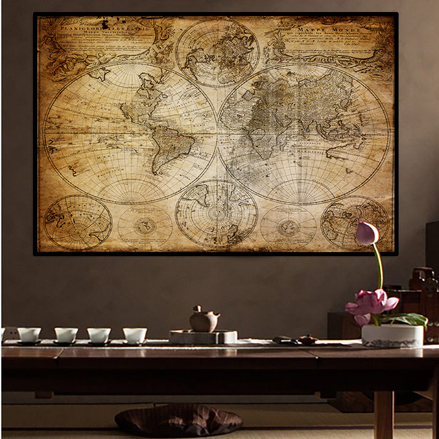SVITY Classic Vintage World Map Canvas Painting Art Vintage Poster Wall Picture Nordic Home Study Room Decoration No Frame A036
