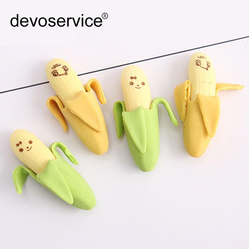 2pcs Korea Creative Mini Simulation Peeled Banana Emotional Eraser Fruit Rub Stationery Office School Supplies Material Escolar