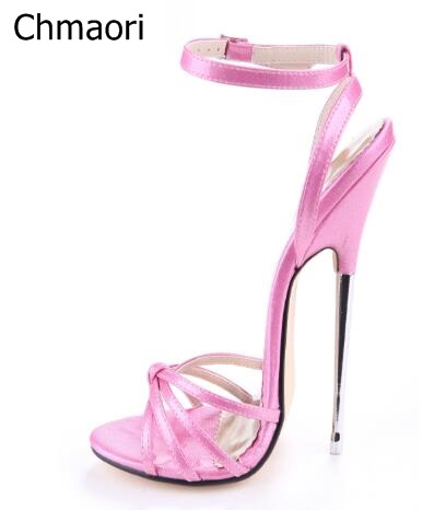 где купить Woman sandals summer new fashion 16 cm red green high heels metal thin heel peep toe large size female party show shoes дешево