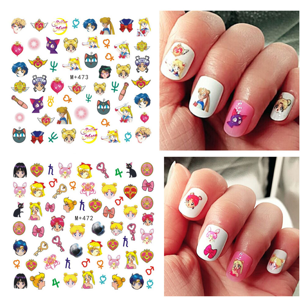 3pcs Diy Japan Sailor Moon Nails Art Stickers Cartoon Water