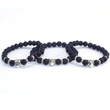 Natural Stone Beads Men Bracelets Lucky Charm Matte Black Natural Stone Beads Onyx Stone Matt Tiger Leopard Bracelets for Men(China)
