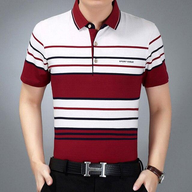 6b020d3548 Verão de algodão da listra-camisa polo masculina manga curta turn-down  collar slim