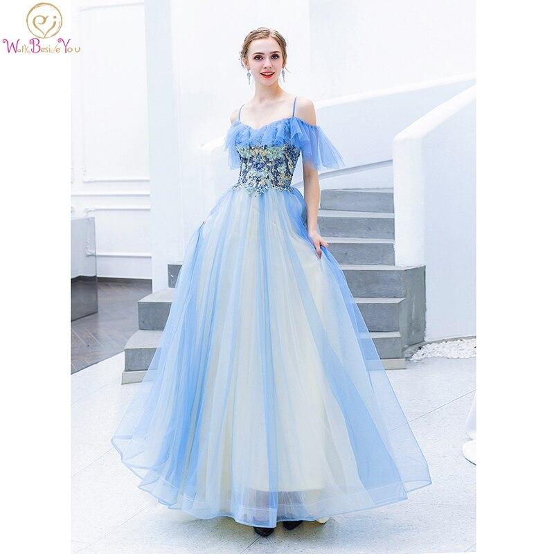 Blue   Prom     Dress   2019 vestidos de graduacion Lace Applique Off Shoulder Spaghetti Strap V Neck Long Evening Gown Walk Beside You