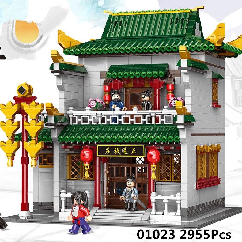 XINGBAO 01023 2955 pcs Chinois Bâtiment Série Le Vieux-Style Banque Ensemble Lepin Blocs de Construction Briques Enfants Jouets Modèle cadeaux d'anniversaire