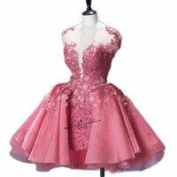 Рождество розовое короткое платье для выпускного вечера Пышное Кружево аппликация 3D Цветы Винтаж Мини Homecoming Платья для вечеринок для сладк